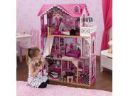 KidKraft Wooden Amelia Pretend Play Dollhouse w/ 15 Pieces of Furniture