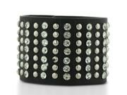 Black Leather Rockstar Rhinestone and Studded Cuff Bracelet