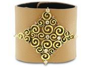 Wide Cool Caramel Colored Leather Cuff With Large Brass Rhinestone Element, Fashion Jewelry Bracelet
