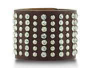 Brown Leather Rockstar Rhinestone and Studded Cuff Bracelet