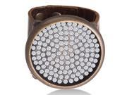 Brown Leather Rhinestone Studded Disc Bracelet, Fits Wrist Sizes 6-7