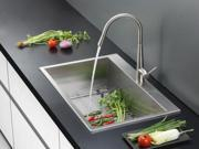 Ruvati RVC2393 Stainless Steel Kitchen Sink and Stainless Steel Faucet Set