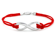Sterling Silver Lobster Clasp Infinity Red Rope Bracelet 7""