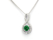Sterling Silver Figure 8 Infinity Pendant (May 1.50ctw Emerald CZ Color Birthstone)