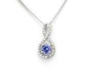 Sterling Silver Figure 8 Infinity Pendant (September 1.50ctw Sapphire CZ Color Birthstone)