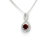 Sterling Silver Figure 8 Infinity Pendant (January 1.50ctw Garnet CZ Color Birthstone)