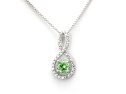 Sterling Silver Figure 8 Infinity Pendant (August 1.50ctw Peridot CZ Color Birthstone)