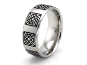 Stainless Steel Celtic Cross Cubic Zirconia Ring