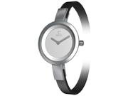 Obaku Women's V129LCIRB-N Black Leather Quartz Watch with Silver Dial