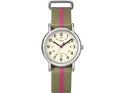 Timex Women's T2N917 Green Nylon Quartz Watch with White Dial