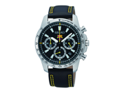 Seiko Men's SSB073P2 Black Leather Quartz Watch with Black Dial