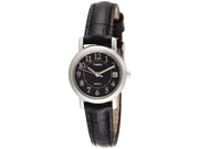 Timex Women's T2N335 Black Calf Skin Analog Quartz Watch with Black Dial