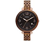 Fossil Women's Heather JR1408 Brown Plastic Quartz Watch with Black Dial