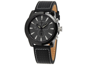 Android Men's AD654AK Black Leather Quartz Watch with Black Dial