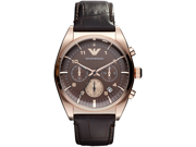 Emporio Armani Men's AR0371 Brown Leather Quartz Watch with Brown Dial