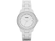 Fossil Women's Retro Traveler AM4466 White Resin Analog Quartz Watch with White Dial