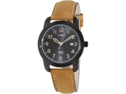 Timex Men's Elevated Classics T2P133 Brown Leather Analog Quartz Watch with Black Dial