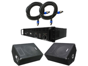 Seismic Audio - FL-15MPPKG1 - Pair of 15 Inch Wedge Floor or Stage Monitors, Power Amplifier, and Cables (Add On) Package - PA, DJ, Karaoke, Live Band use
