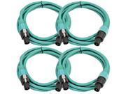 Seismic Audio - TW12S10Green-4Pack - Four Pack of 12 Gauge 10 Foot Green Speakon to Speakon Professional Speaker Cables - 12AWG 2 Conductor Speaker Cables