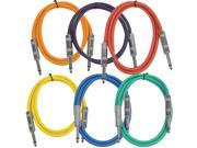 """Seismic Audio - SASTSX-2 (6 Pack) - 2 Foot TS 1/4"""" Guitar, Instrument, or Patch Cables Colored"""