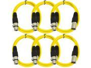Seismic Audio - 6 Pack of Yellow 2' XLR male to XLR female Patch Cable