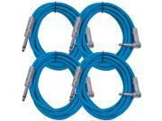 "Seismic Audio - SAGC10R - 10 Foot (4 Pack) TS 1/4"" to 1/4"" Right Angle TS Guitar Cables Blue"