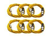 Seismic Audio - 6 Pack of Yellow 10 foot XLR Female to TRS Male Patch Cables - Snake Microphone Cord
