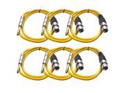 Seismic Audio - 6 Pack of Yellow 2 foot XLR Female to TRS Male Patch Cables - Snake Microphone Cord