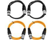 SEISMIC AUDIO - SAXLX-3 - 4 Pack of 3' XLR Male to XLR Female Patch Cables - Balanced - 3 Foot Patch Cord - Black and Orange