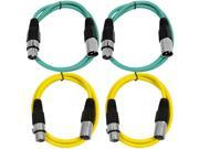 SEISMIC AUDIO - SAXLX-3 - 4 Pack of 3' XLR Male to XLR Female Patch Cables - Balanced - 3 Foot Patch Cord - Green and Yellow