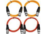 SEISMIC AUDIO - SAXLX-3 - 4 Pack of 3' XLR Male to XLR Female Patch Cables - Balanced - 3 Foot Patch Cord - Orange and Red