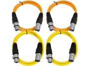 SEISMIC AUDIO - SAXLX-3 - 4 Pack of 3' XLR Male to XLR Female Patch Cables - Balanced - 3 Foot Patch Cord - Orange and Yellow