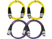 SEISMIC AUDIO - SAXLX-3 - 4 Pack of 3' XLR Male to XLR Female Patch Cables - Balanced - 3 Foot Patch Cord - Yellow and Purple