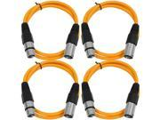 SEISMIC AUDIO - SAXLX-2 - 4 Pack of 2' XLR Male to XLR Female Patch Cables - Balanced - 2 Foot Patch Cord - Orange and Orange