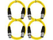 SEISMIC AUDIO - SAXLX-2 - 4 Pack of 2' XLR Male to XLR Female Patch Cables - Balanced - 2 Foot Patch Cord - Yellow and Yellow