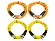 SEISMIC AUDIO - SAXLX-6 - 4 Pack of 6' XLR Male to XLR Female Patch Cables - Balanced - 6 Foot Patch Cord - Orange and Yellow