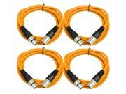 SEISMIC AUDIO - SAXLX-6 - 4 Pack of 6' XLR Male to XLR Female Patch Cables - Balanced - 6 Foot Patch Cord - Orange and Orange