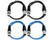 SEISMIC AUDIO - SAXLX-3 - 4 Pack of 3' XLR Male to XLR Female Patch Cables - Balanced - 3 Foot Patch Cord - Black and Blue