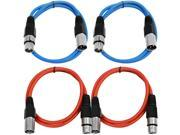 SEISMIC AUDIO - SAXLX-2 - 4 Pack of 2' XLR Male to XLR Female Patch Cables - Balanced - 2 Foot Patch Cord - Blue and Red