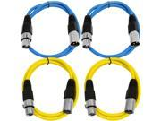 SEISMIC AUDIO - SAXLX-3 - 4 Pack of 3' XLR Male to XLR Female Patch Cables - Balanced - 3 Foot Patch Cord - Blue and Yellow