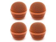 Seismic Audio - SA-M30Grille-Orange-4Pack - 4 Pack of Replacement Orange Steel Mesh Microphone Grill Heads - Compatible with SA-M30, Shure SM58, Shure SV100 and Similar