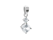 Sterling Silver 6mm and 4mm Round Clear Cubic Zirconia Pendant-