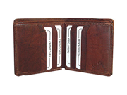 New Mens Cowhide Leather Two Billfolds Burgundy Wallet More Credit card Slots