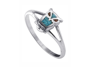 925 Sterling Silver Turquoise and Coral Inay Owl Southwestern Style 1mm Band Ring Size 7
