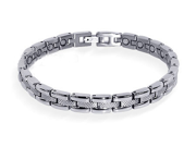 "Magnetic Link Textured Silver Bracelet 7.5"" Long with Fold over Clasps"