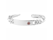 """RSBS005 .925 Silver 11mm Thick Medical Identification 8"""" Link Mens Bracelet with Lobster Claw Clasp"""
