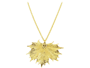 """24 KT Gold Plated Real Sugar Maple Leaf Pendant Necklace with Gold over Copper 1 MM Rolo Chain 18"""""""