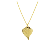 """24 KT Gold Plated Real Birch Leaf Pendant Necklace with Gold over Copper 1 MM Rolo Chain 18"""""""