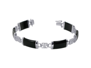 """8mm Wide Black Onyx and Chinese Letters Tranquility Link in Sterling Silver 7.5"""" Long Bracelet"""
