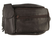 MW305-BR Lambskin 13 x 6 x 2 inch Leather Brown Fanny Pack with Cell Phone Pouch